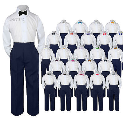 Baby Toddler Kid Boys Wedding Formal 3pc Set Shirt Navy Pants Bow Tie Suit S-7