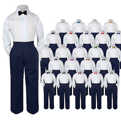 - Baby Toddler Kid Boys Wedding Formal 3pc Set Shirt Navy Pants Bow Tie Suit S-7