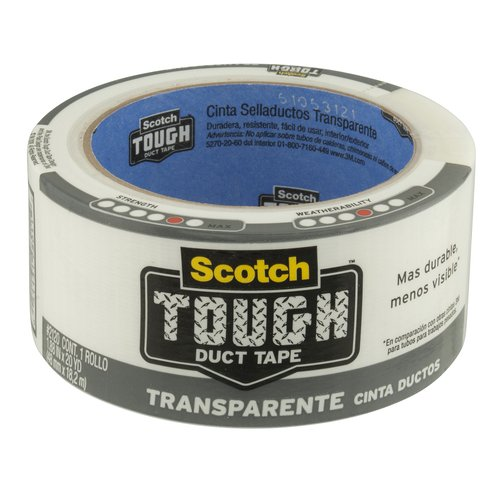 Scotch Tough Transparent Duct Tape, 1.88 in x 20 yd (48 mm x 18,2 m)