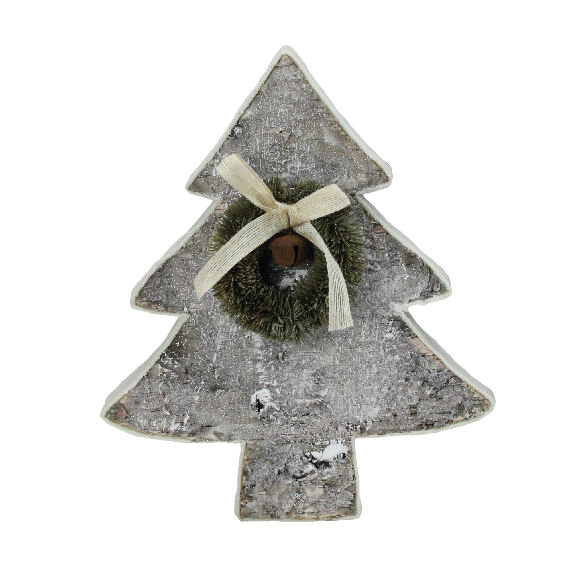 """12"""" Natural Wood Table Top Christmas Tree with Wreath"""