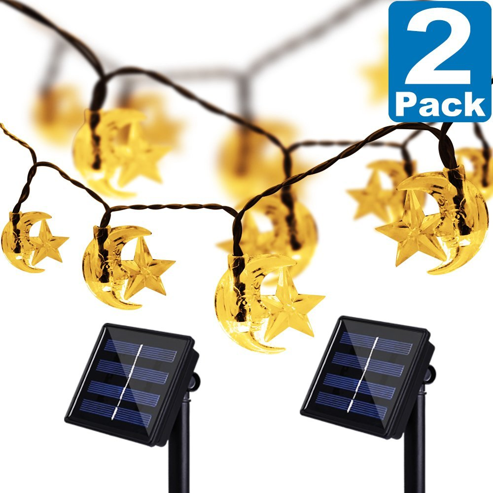 Solar String Moon Star Lights, Kasonic 20 Ft 30 LED Water-Resistant Super Bright Lights Outdoor Christmas Decoration Lights for Garden, Lawn, Wedding, Patio, Party, Warm White-2 PACK