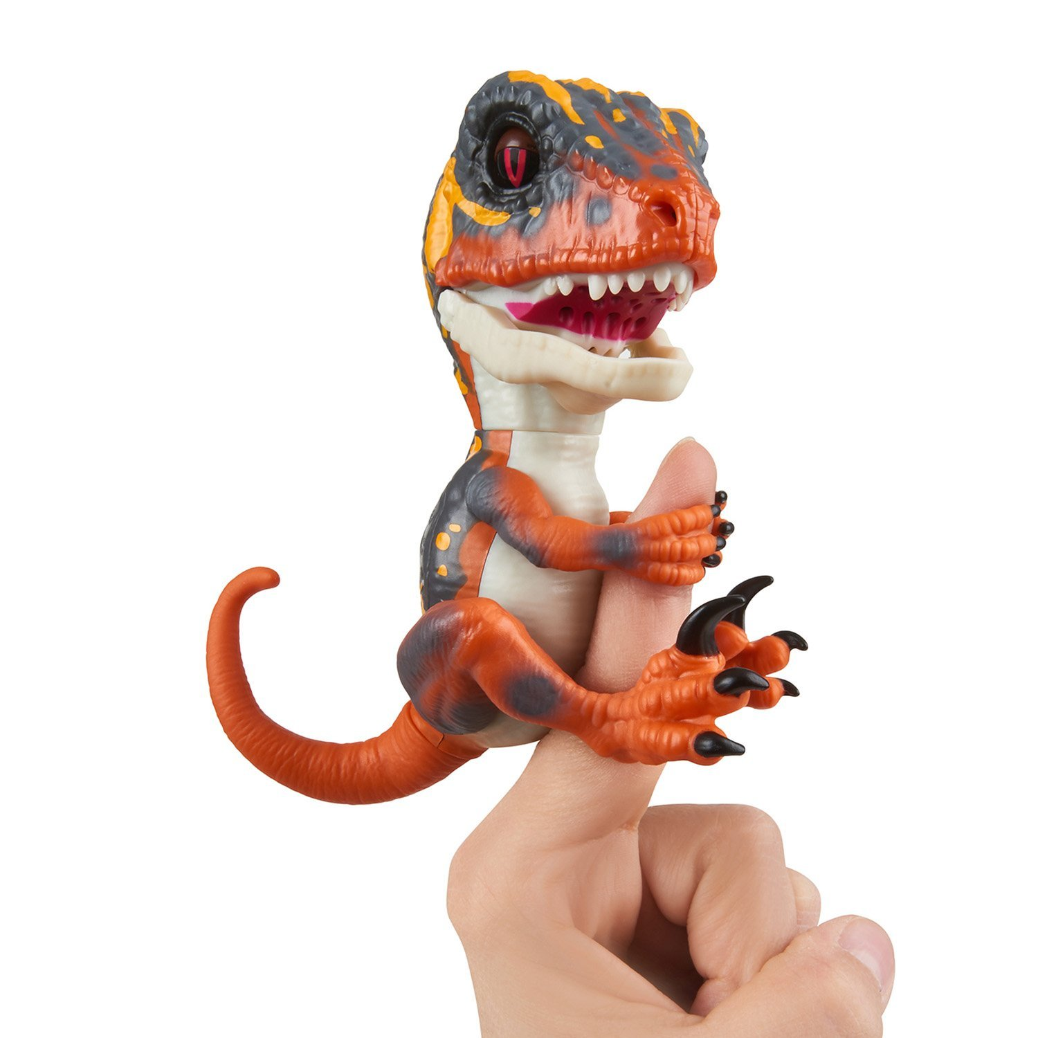 WowWee Untamed Raptor by Fingerlings Interactive Collectible Baby Dinosaur, Blaze (Orange) by License 2 Play