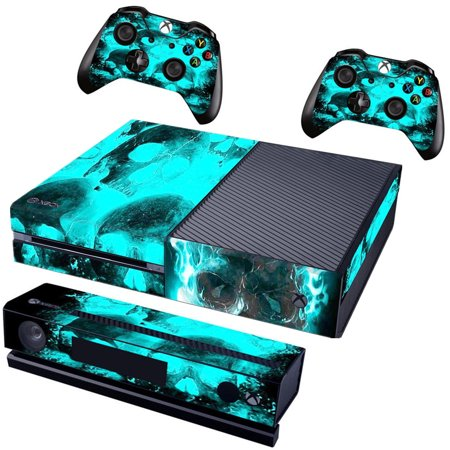 Blue Skull Protective Vinyl Skin Bundle Decal for XBOX One Console, Kinect and 2 Controllers Wrap Cover Sticker (Xbox 360 With Kinect And Two Controllers)