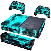 Blue Skull Protective Vinyl Skin Bundle Decal for XBOX One Console, Kinect and 2 Controllers Wrap Cover Sticker Skins