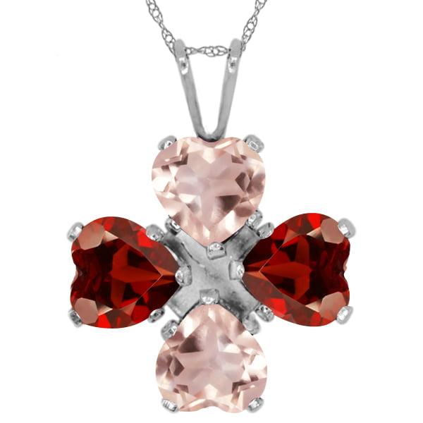 3.20 Ct Heart Shape Rose Rose Quartz Red Garnet 925 Sterling Silver Pendant