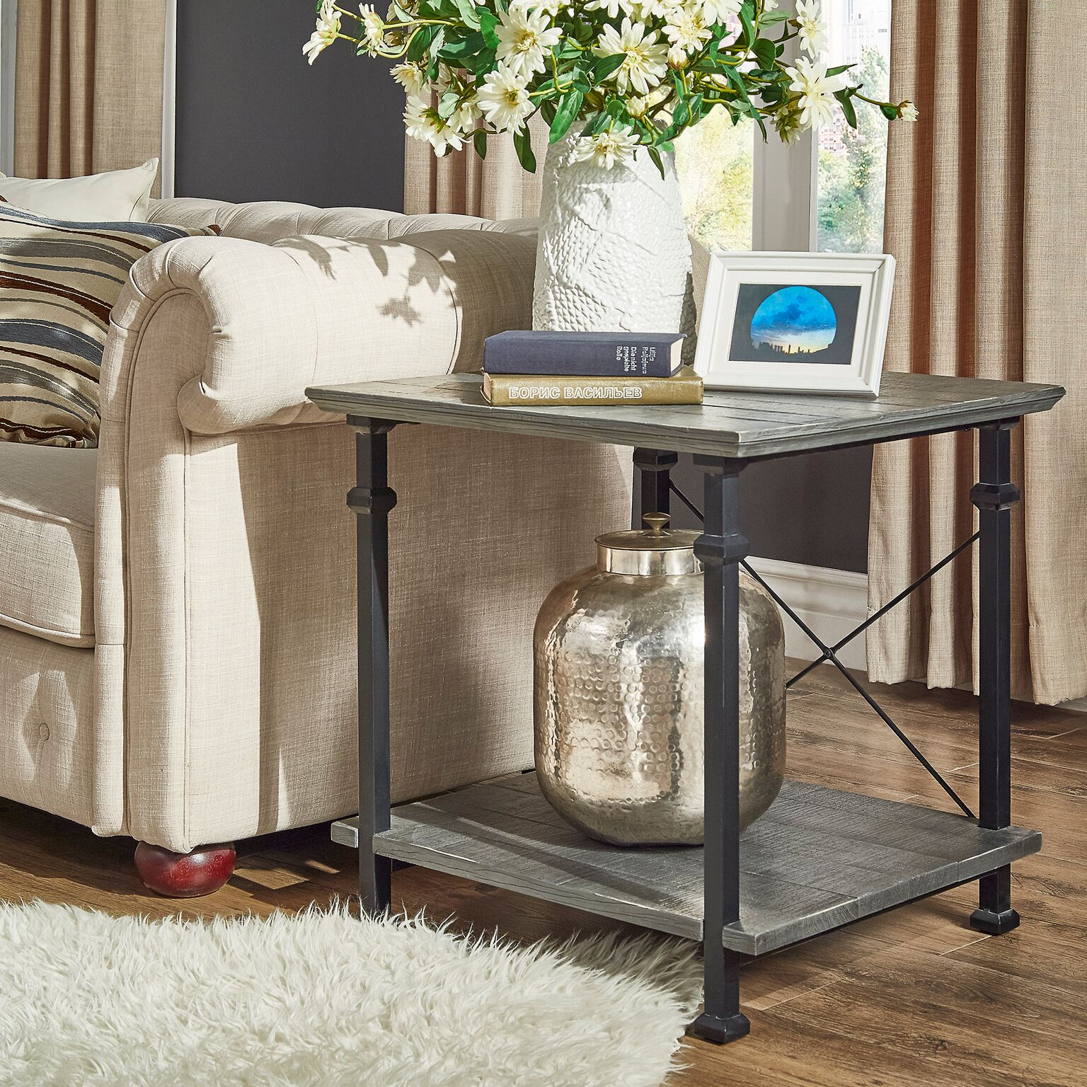 Weston Home Metal Supports X-Frame End Table, Grey