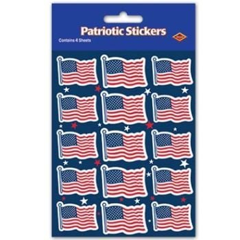 Beistle 54017 4-Pack US Flag Stickers, 43/4 by 71/2-Inch