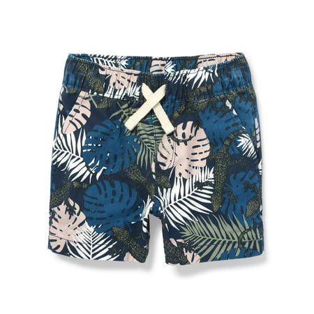 The Children's Place Toddler Boys All Around Tropical Leaf and Lizard Print Waistband Drawstring Shorts (Toddler Boys)