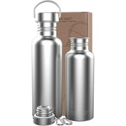 34oz Water Bottle, Single Walled Stainless Steel Uninsulated Bottle, Sports Metal Water Bottle, Wide Mouth Leak Proof for Outdoor Use Bike, Gym, Cycling, Running, Hiking, Camping- BPA Free