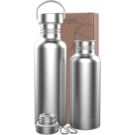 Stainless Steel Water Bottle, Single Walled Uninsulated Eco Friendly Reusable Sports Bottle 18/8 for Outdoor, Gym, Travel, Cycling, Running, Hiking, Picnics, Camping, Fitness - BPA Free (26 Ounces)