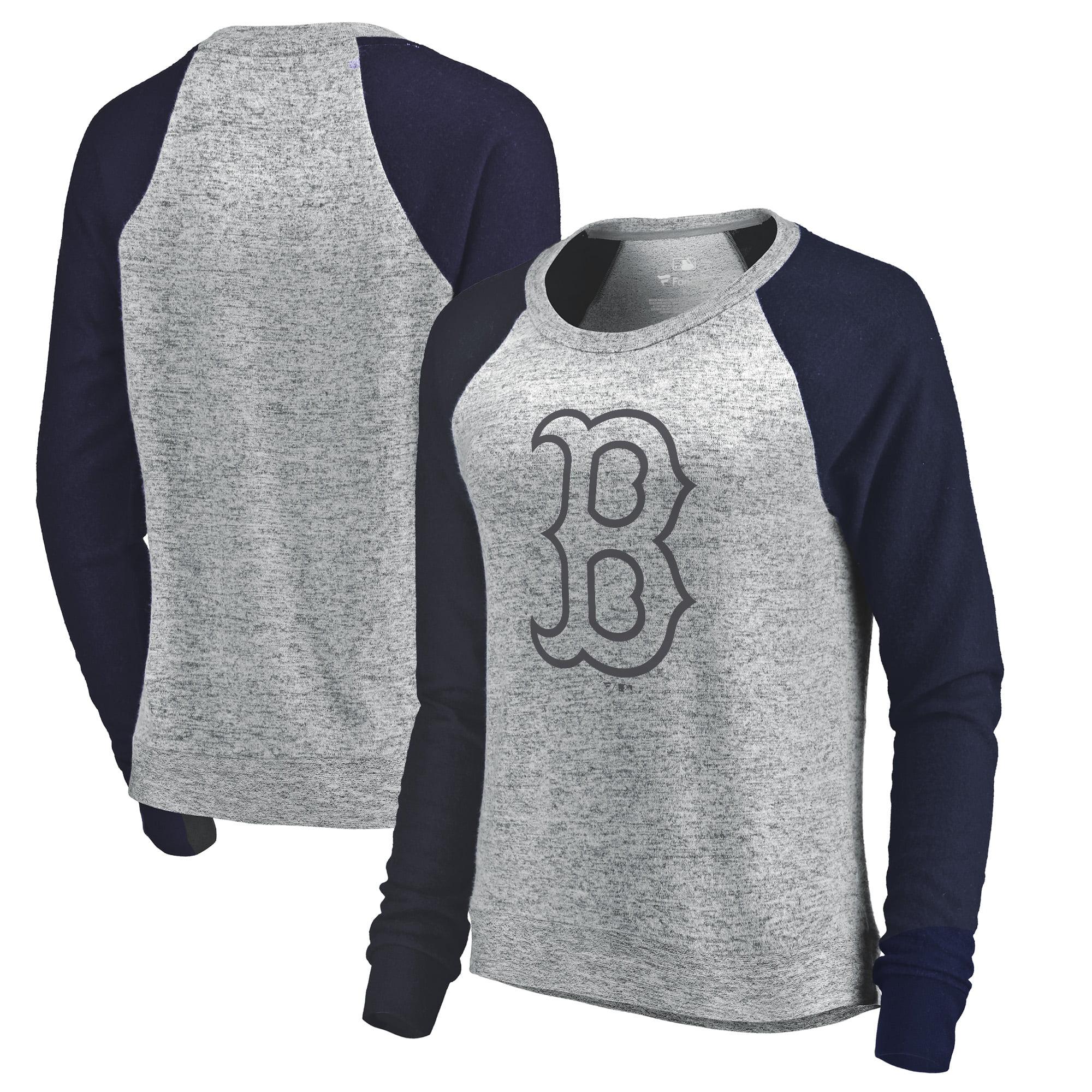 Boston Red Sox Let Loose by RNL Women's Cozy Collection Plush Raglan Tri-Blend Sweatshirt - Ash