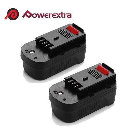 Powerexra 2-Pack 18 Volt 2000mAh Replacement Battery For Black & Decker HPB18, HPB18-OPE FireStorm A1718, A18NH, FS180BX, FS18BX Black and Decker