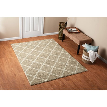 Mainstays Fret Tan Shag Patterned Rug