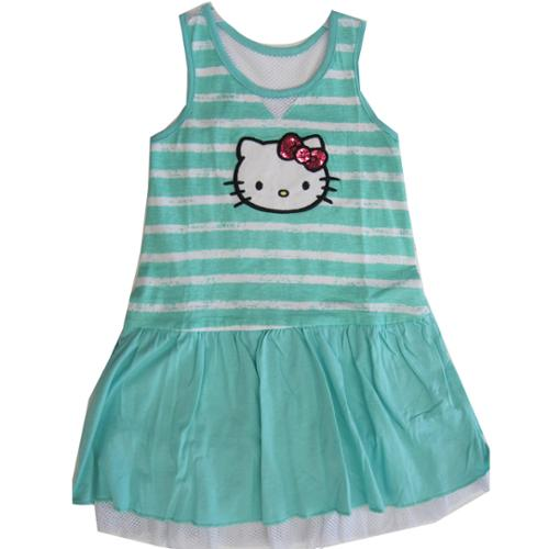 Little Girls Turquoise White Stripe Glittery Applique Dress 4-6X