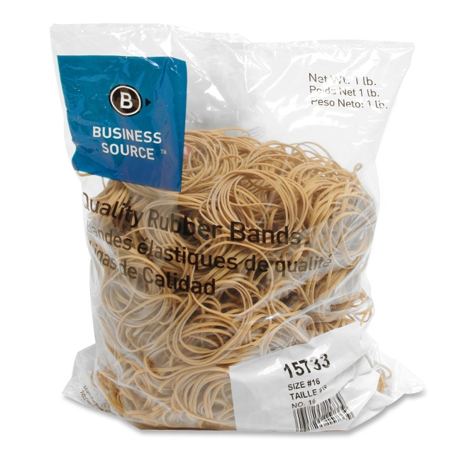 Business Source Rubber Bands, Size 16, 1 lb Bag , Natural Crepe (Set of 2)
