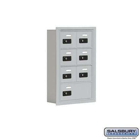- Salsbury Industries 19045-07ARC Cell Phone Storage Locker - 4 Door High Unit (5 Inch Deep Compartments) - 6 A Doors and 1 B Door - Aluminum - Recessed Mounted - Resettable Combination Locks