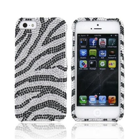 (Black/ Silver Zebra Bling Apple iPhone 5 / 5S Hard Case Cover; Fashion Jeweled Snap-On Plastic Case; Perfect Fit as Best Coolest Design Cases for.., By KarenDeals)