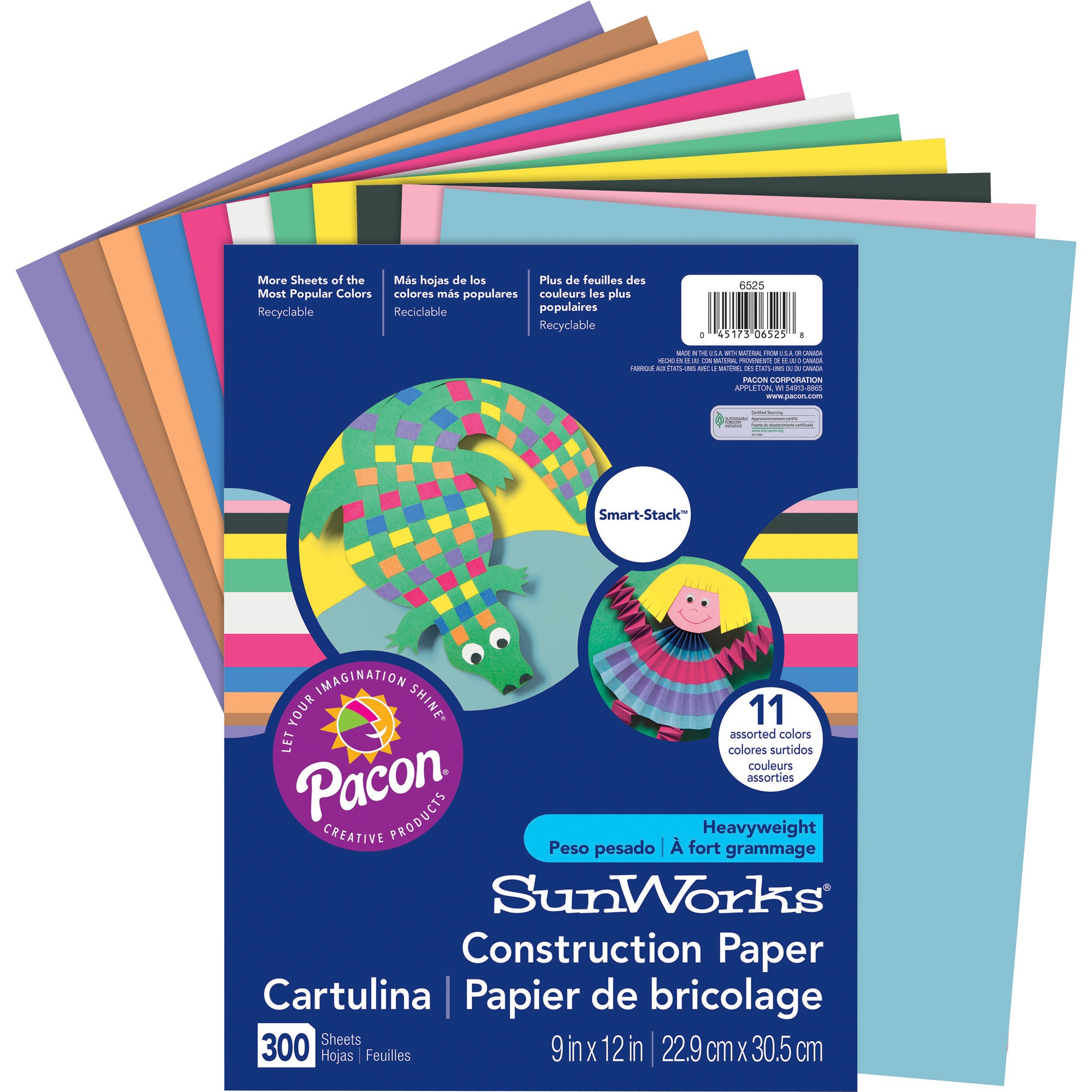 "SunWorks® Construction Paper, 11 Assorted Colors, 9"" x 12"", 300 Sheets"