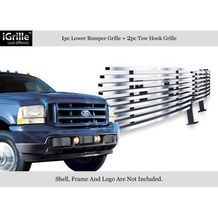 - For 99-04 Ford F250/F350 Super Duty Stainles Steel Bumper Billet Grille #F85388C