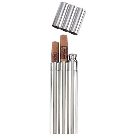 Maxam® 2oz Stainless Steel Flask with 2 Cigar Tubes in Remailer
