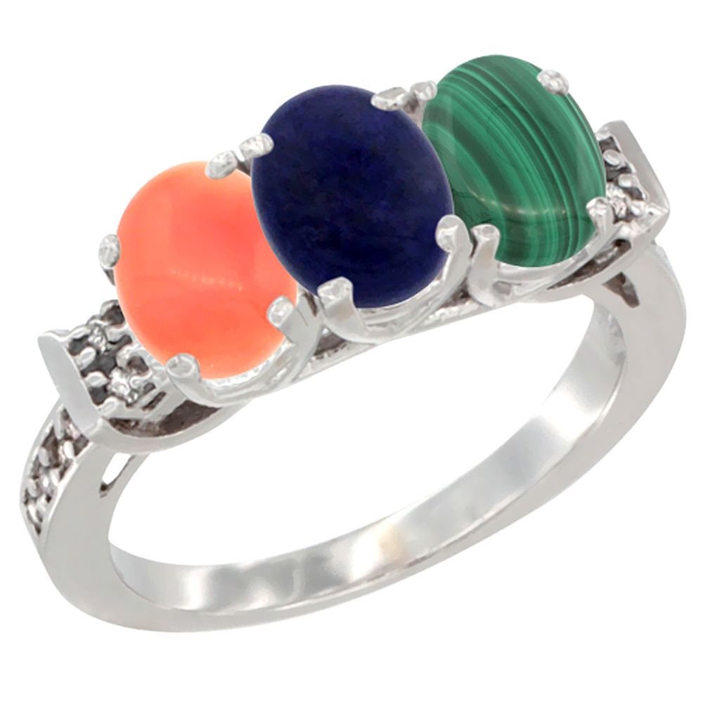 10K White Gold Natural Coral, Lapis & Malachite Ring 3-Stone Oval 7x5 mm Diamond Accent, sizes 5 10 by WorldJewels