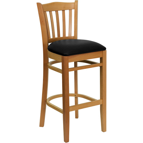 "Slat Back Bar Stool 29"", Natural and Black"