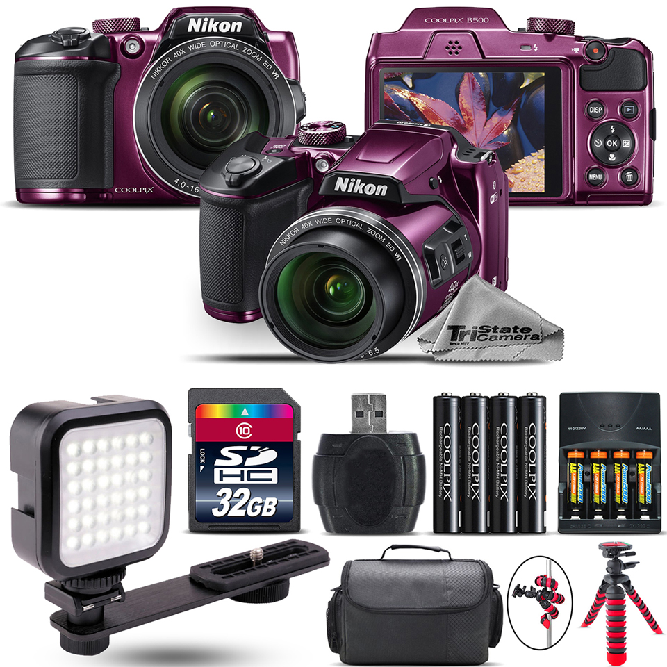 Nikon COOLPIX B500 Plum Camera 40x Optical Zoom + LED + Case - 32GB Kit Bundle