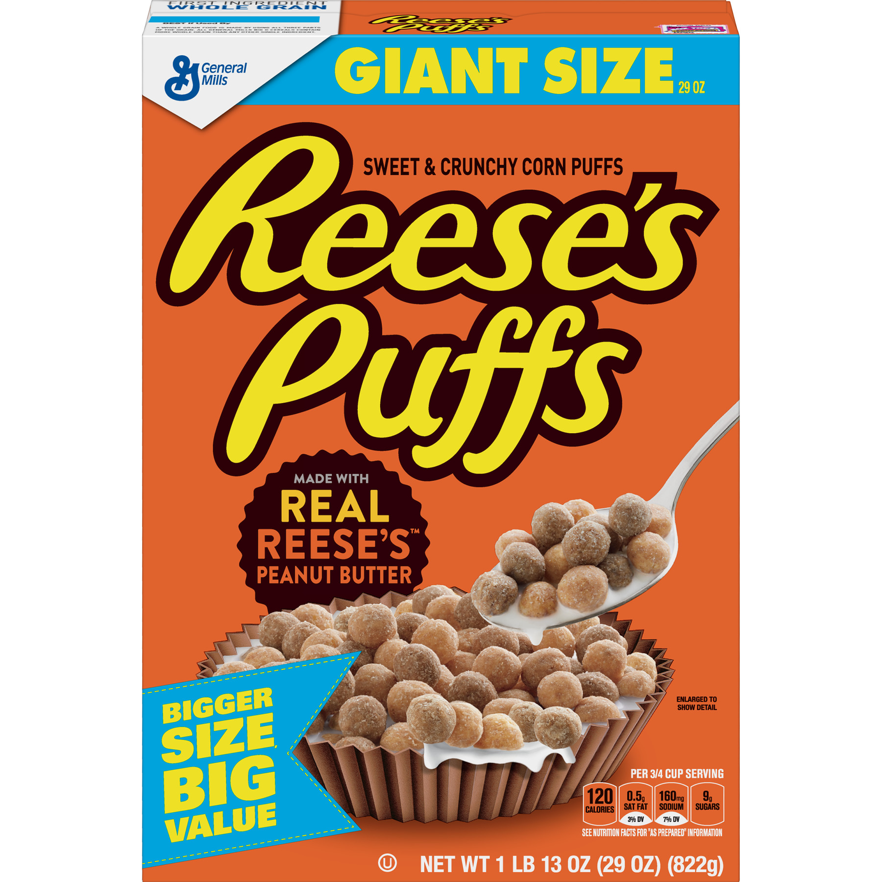 Reese's Peanut Butter Puffs Breakfast Cereal, 29 oz Box