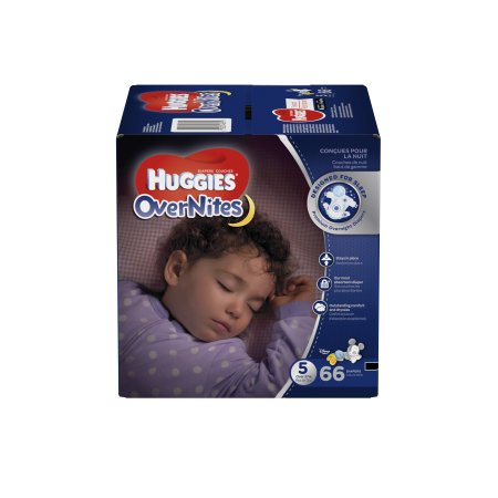 Branded HUGGIES OverNites Diapers, Size 5, 66 Diapers , Weight 27lbs - Branded Diapers at Wholesale price (Soft and Comfortable for Babies)