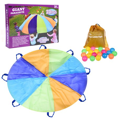 Parachute 10 Foot for Kids with 8 Handles Play Parachute for 8 12 Kids Tent Cooperative Games Birthday Gift - Used Parachutes For Sale