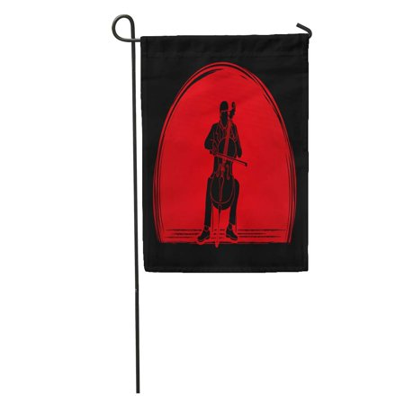 LADDKE Artist Cello Player Designed on Sunset Graphic Cellist Classic Classical Garden Flag Decorative Flag House Banner 12x18 inch