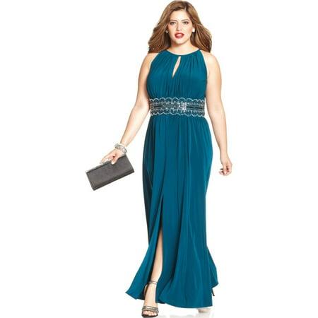 RM Richards Women\'s Plus Size Beaded Waist Halter Evening Gown ...