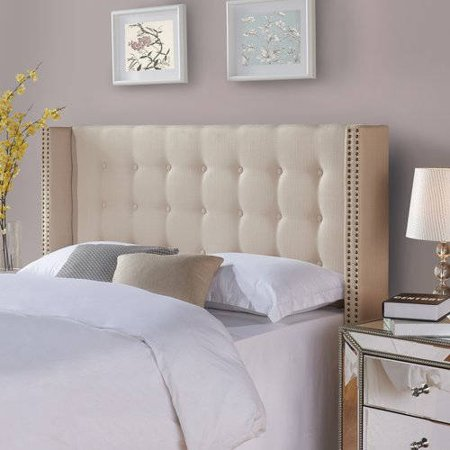 Better Homes And Gardens Wingback Tufted Upholstered Headboard King Cal King Ricepaper
