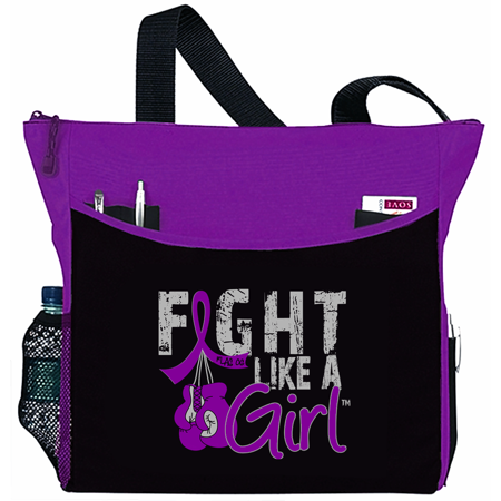 Fight Like a Girl Pancreatic Cancer Lupus Epilepsy Chiari Fibromyalgia Tote Bag - Dakota, Purple Ribbon