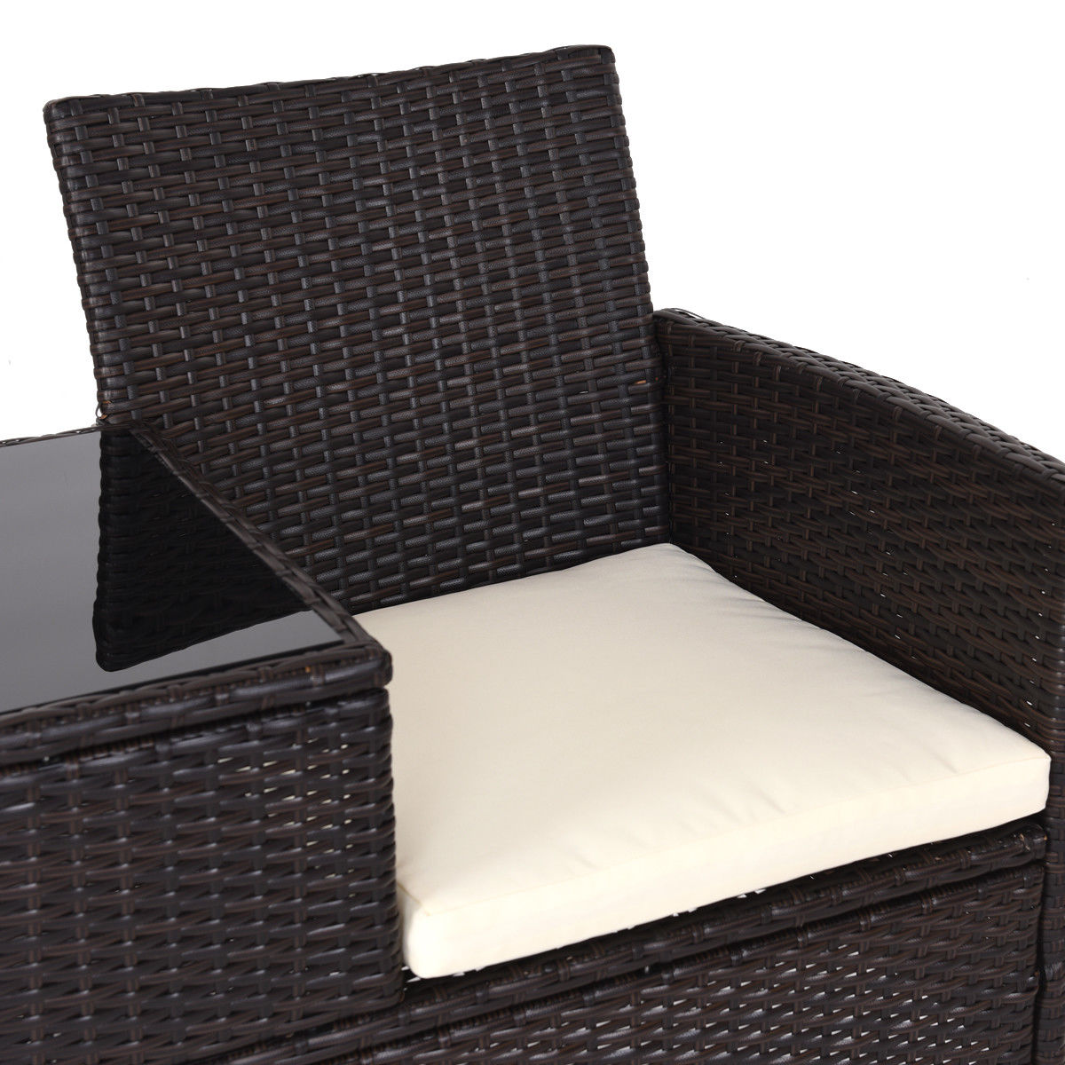 Costway Patio Rattan Chat Set Seat Sofa Loveseat Table Chairs w/ Cushion - image 7 de 9