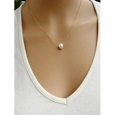 Women Ladies Simple Imitate Pearl Bib Choker Collar Necklace ()