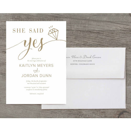 She Said Yes Deluxe Wedding Invitation