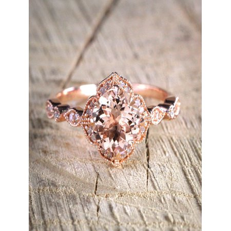 JeenJewels Sale Antique Design 1.25 Carat Peach Pink Morganite (Round Shaped) and Diamond Engagement Ring in 10k Rose Gold (Antique Looking Engagement Ring)