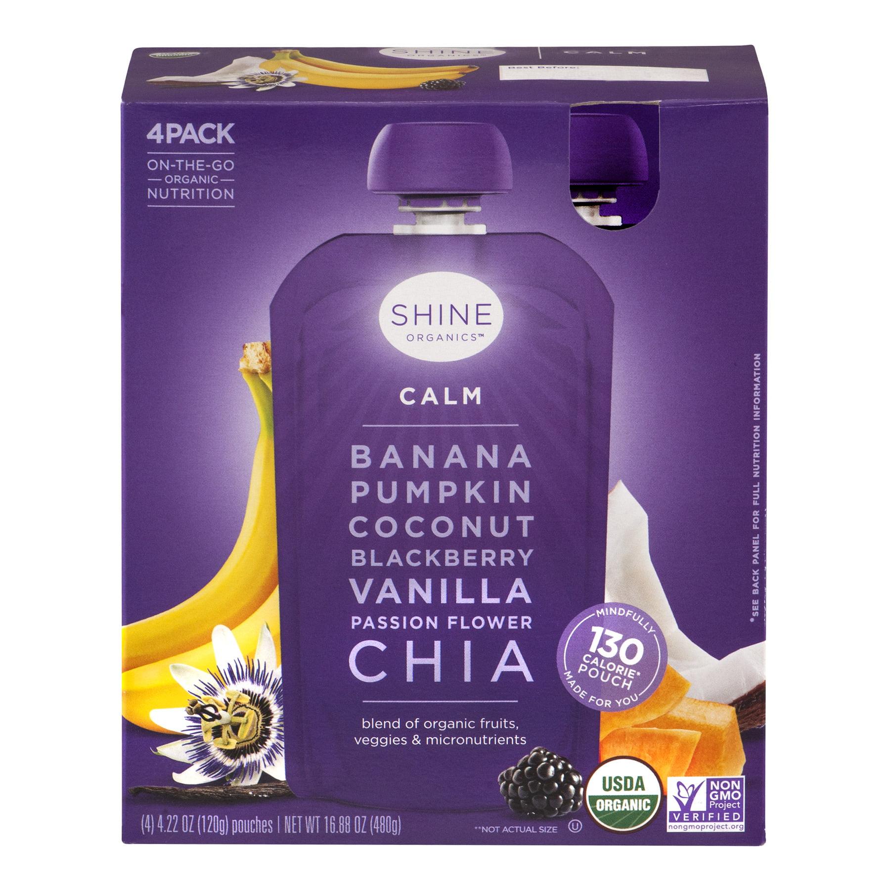 Shine Organics Fruit & Vegetable Juice, Calm, 4.22 Fl Oz, 4 Count