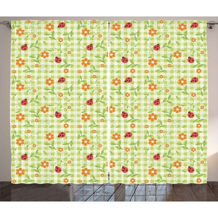 Floral Curtains 2 Panels Set, Flowers Ladybugs Leaves on Summer Striped Background Baby Cute Motif, Window Drapes for Living Room Bedroom, 108W X 63L Inches, Red Orange Lime Green, by - Striped Ladybug
