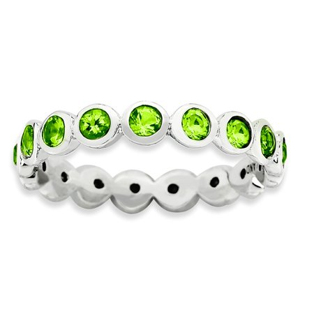 (ICE CARATS 925 Sterling Silver August Swarovski Band Ring Size 6.00 Stackable Birthstone Gemstone Peridot Fine Jewelry Ideal Gifts For Women Gift Set From Heart)