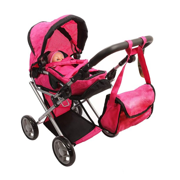 Mommy & Me Baby Doll Stroller Deluxe Foldable 4 in 1 Doll ...