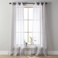 Better Homes & Gardens Clipped Pom Pom Window Curtain Panel, Set of 2