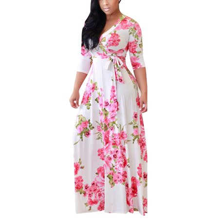 MayShow Women Girl V-Neck Long Dress Middle Sleeves Flowers Print Summer Beach Long Boho Maxi Dress for Women - Flowers For Dresses