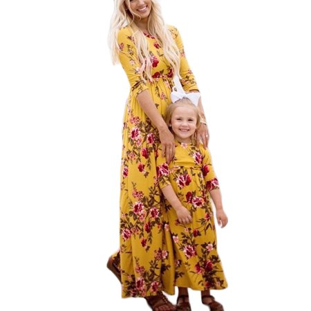 Mommy and Me Matching Long Sleeve Floral Print Long Maxi Dress Family High Waist Pleated Long Dress with Pockets