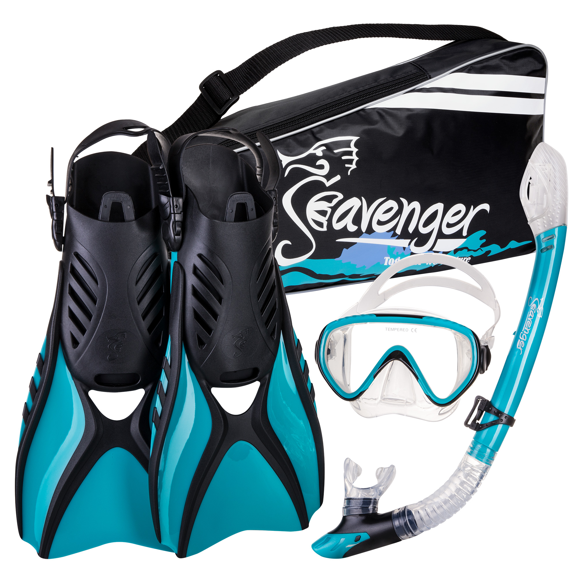 Seavenger Advanced Snorkeling Set with Panoramic Mask, Trek Fins, Dry Top Snorkel & Gear Bag (Clear Silicone/Teal, Medium)