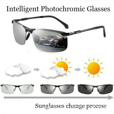 3 Colors Driving Polarized Photochromic Lens Sunglasses Day and Night Metal Outdoor Anti-UV (Diy Eyeglasses)