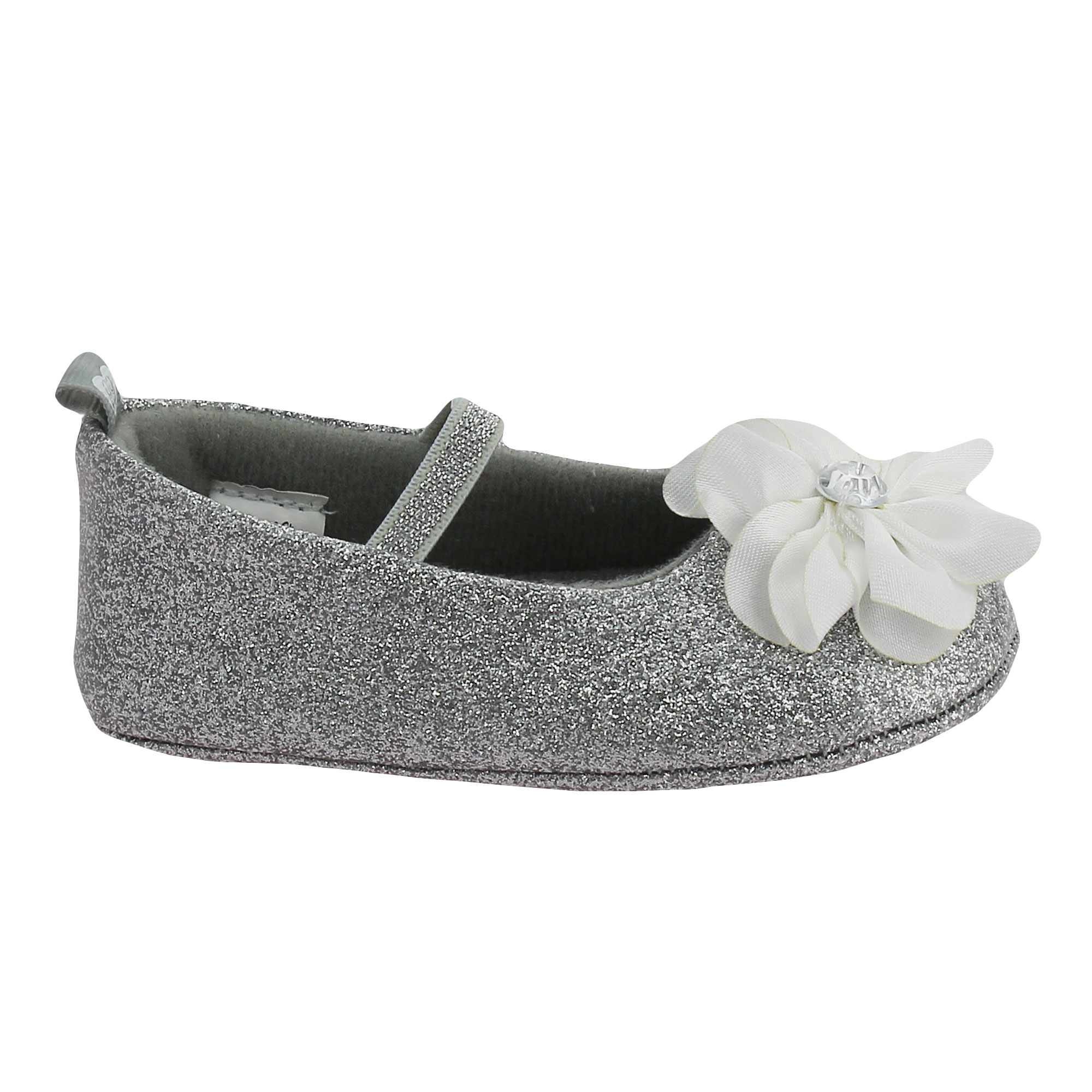 Stepping Stones Girls Glitter Silver Mary Jane Infant Crib Baby