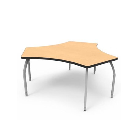 Elo Adapt Desk with Fusion Maple Laminate & 4 Junior Adjustable Smooth Silver Legs - 21-26 x 30 x 22.5 in.