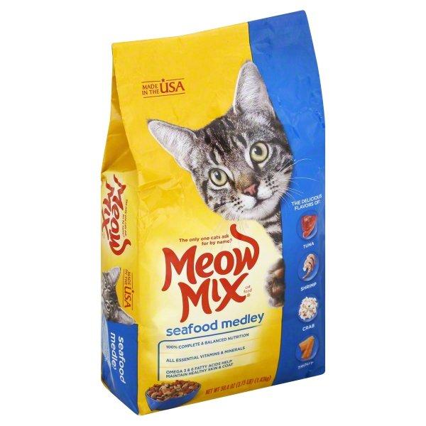 Meow Mix Seafood Medley Dry Cat Food, 3.15 lb